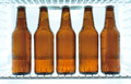 Beer bottles in a fridge five cold Royalty Free Stock Photos