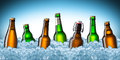 Beer bottles on ice Royalty Free Stock Photo