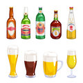 Beer bottles and mugs icons set. Royalty Free Stock Photo