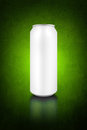 Beer can blank tin as copy space on grunge greenbackground Stock Photography