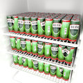 Beer cans fridge full with Stock Photo