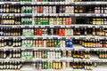 Beer Cans On Supermarket Stand Royalty Free Stock Photo