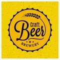 Beer cap brewery logo. Craft beer vintage lettering on yellow background