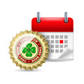 Beer cap and calendar Royalty Free Stock Photo