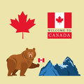Beer cartoon with Canada Flag. Maple leaf icon. Mountain design