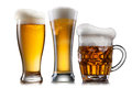 Beer in different glasses isolated Royalty Free Stock Photo