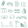 Beer drink and pub simple outline icons eps10 Royalty Free Stock Photo