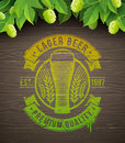 Beer emblem painted on wooden surface and ripe hops and leaves Royalty Free Stock Image