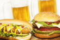 Beer and fastfood Royalty Free Stock Image