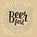 Beer fest lettering. Vector vintage engraving illustration Royalty Free Stock Photo