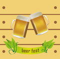 Beer fest vector illustration of two golden mugs like as a cheering with banner design on a light yellow wooden design Royalty Free Stock Photos