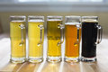 Beer flight from micro brewery Stock Photography