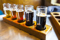 Beer flight in the pub Royalty Free Stock Photography