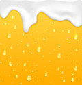 Beer with foam drops on glass yellow drink background illustration Stock Photos
