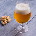 Beer with foam and peanuts Royalty Free Stock Photo