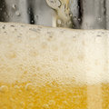 Beer with frothy foam a close up of larger in a glass Stock Image