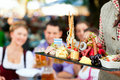 In Beer garden - beer and snacks Royalty Free Stock Images