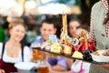 In Beer garden - beer and snacks Royalty Free Stock Photo