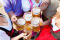 In beer garden friends drinking beer lederhosen a fresh bavaria germany Stock Image