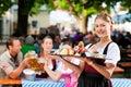 Beer garden restaurant - beer and snacks Royalty Free Stock Photo