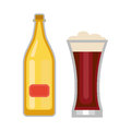 Beer glass and bottle vector.