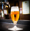 Beer glass served in a pub Royalty Free Stock Photo
