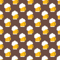 Beer glass vector seamless pattern.
