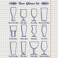 Beer glasses line icons set