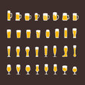 Beer glasses and mugs flat icon set
