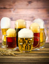 Beer glasses on a wooden table variety of Stock Photo