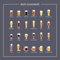 Beer glassware guide, flat icons on dark background. Vector