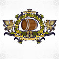 Beer gold luxury background banner there is with barrel and writh from hop Royalty Free Stock Photos