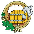 Beer with hops, a barrel and fish. Stock Images