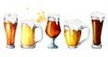 Beer, hops, malt set. Watercolor