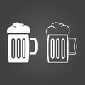 Beer icon. Solid and Outline Versions. White icons on a dark bac