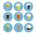 Beer icons set. bottle, glass and label. cups silhouette, , isolated. Oktoberfest .
