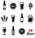 Beer icons set bottle glass pint drinking pub on white Stock Images