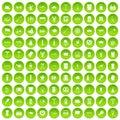 100 beer icons set green circle