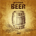 Beer keg with wheat for label package Royalty Free Stock Photography