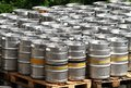 Beer kegs barrels stored in front of brewery Stock Image