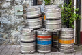 Beer kegs outside pub in dublin ireland Royalty Free Stock Images