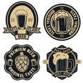 Beer labels. Vintage craft beer retro design elements, emblems,