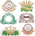 Beer laurel sheafs and sign collection Stock Image