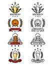 Beer logo set. Mugs and bottles, kegs barrels for brewing company Royalty Free Stock Photo