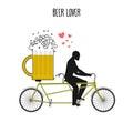 Beer lover. Beer mug on bicycle. Lovers of cycling tandem. Roman