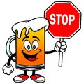 Beer mascot with stop sign cartoon illustration of a a Stock Image