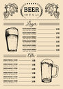 Beer menu design template.Vector pub, restaurant card with hand sketched lager,ale illustrations. Brewery elements icons