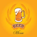 Beer menu vector glass of on a yellow background for the Royalty Free Stock Photos