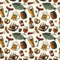 Beer mug and food products seamless pattern vector background with fish, drink in glass