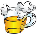 Beer mug with froth a painted by hand vector illustration Royalty Free Stock Photo